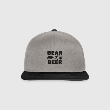 Bear & Beer - Man away from bear to beer - Snapback Cap