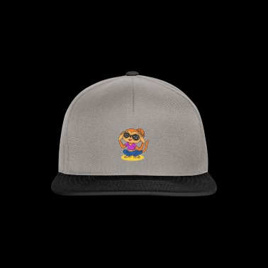 trendy gift idea monkey girl with sunglasses - Snapback Cap