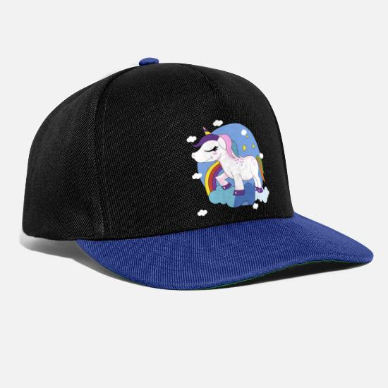 Gift Idea Caps & Hats - Unicorn clouds rainbow star gift fairytale - Snapback Cap black/bright royal