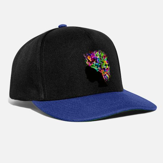 Afro Caps & Hats - Afro flowers Africa silhouette - Snapback Cap black/bright royal