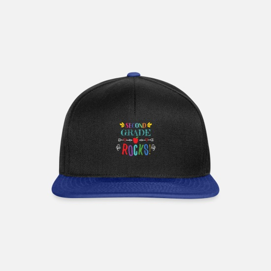 Student Caps & Hats - Second Grade Rocks - for 2nd Grade Teachers - Snapback Cap black/bright royal