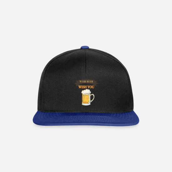 Hippie Caps & Hats - wish you were beer - Snapback Cap black/bright royal