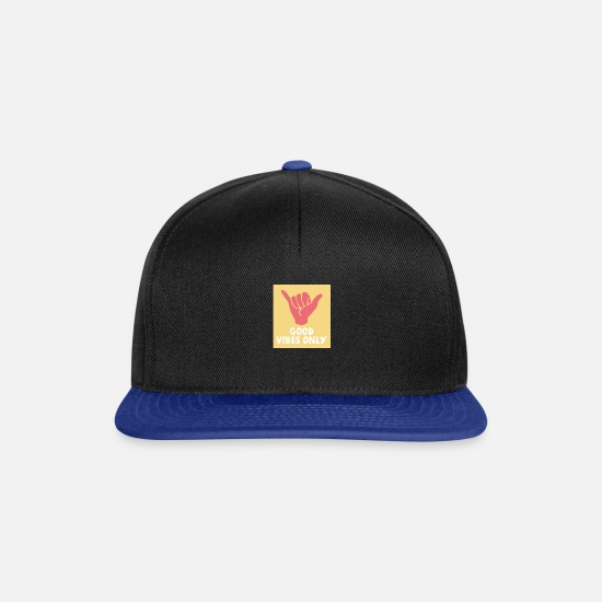 Mood Caps & Hats - Good energy gift idea - Snapback Cap black/bright royal