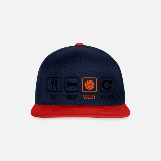Ball Caps & Mützen - Eat. Sleep. Volley. Repeat. - Snapback Cap Navy/Rot