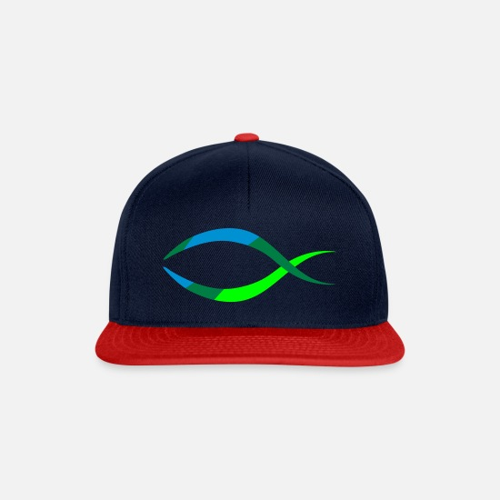 Christian Caps & Hats - Fish as a Christian symbol - Snapback Cap navy/red