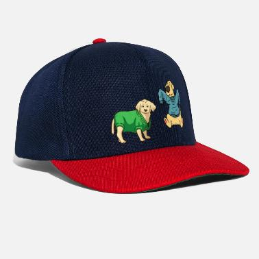 To Hund Strikning uld Animal Fantasy Kids Håndlavet - Snapback Cap