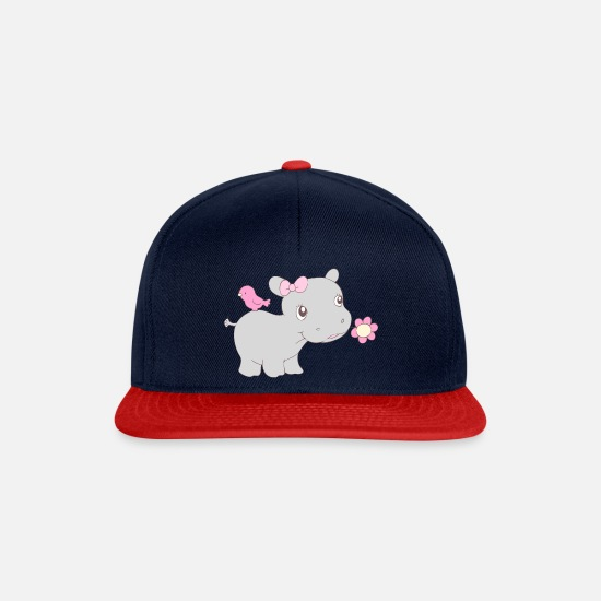 Hippo Caps & Hats - Happy Hippy Hippo Girl - Snapback Cap navy/red