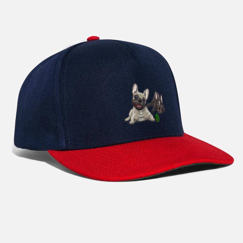 Bulldog Caps & Hats - French Bulldog, French Bulldog - Snapback Cap navy/red