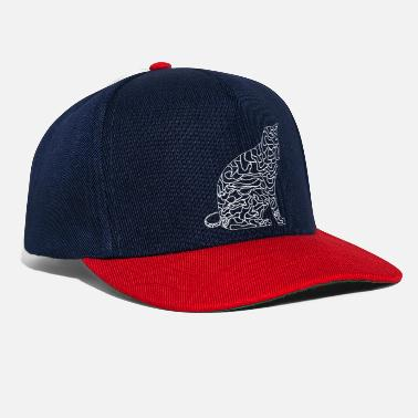 The elegance of the cat with the illustration with lines - Snapback Cap