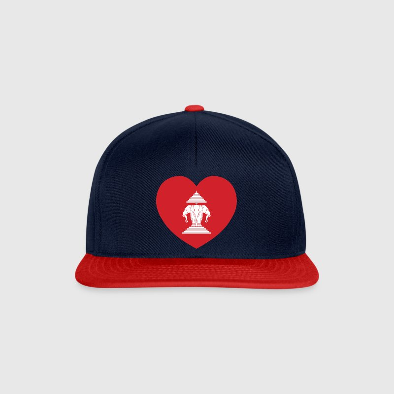 Laotian Erawan 3 Headed Elephant Heart Flag - Snapback Cap