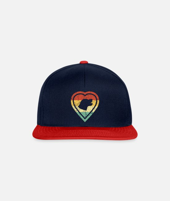 Heart Caps & Hats - Grunge heart retro vintage labrador dog love - Snapback Cap navy/red