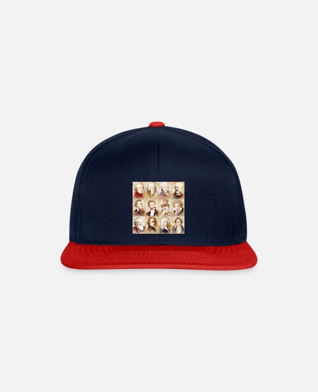 Weaver Caps & Hats - Composers: Mozart, Bach, Beethoven and more - Snapback Cap navy/red