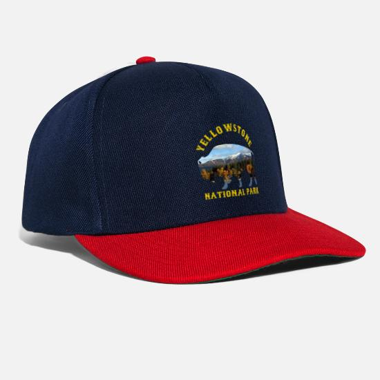 National Caps & Hats - Yellowstone National Park Buffalo With Nature - Snapback Cap navy/red