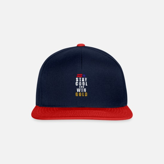 Gold Caps & Hats - USA America United States Winter Sports Games Gold - Snapback Cap navy/red