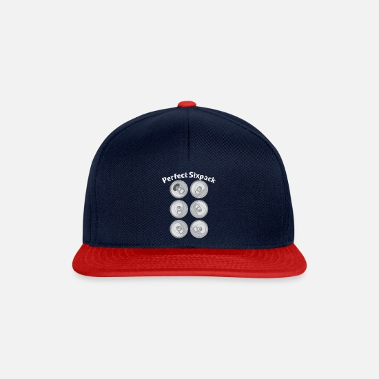 Alcohol Caps & Hats - Perfect Sixpack I Training and Gym - Shirt - Snapback Cap navy/red
