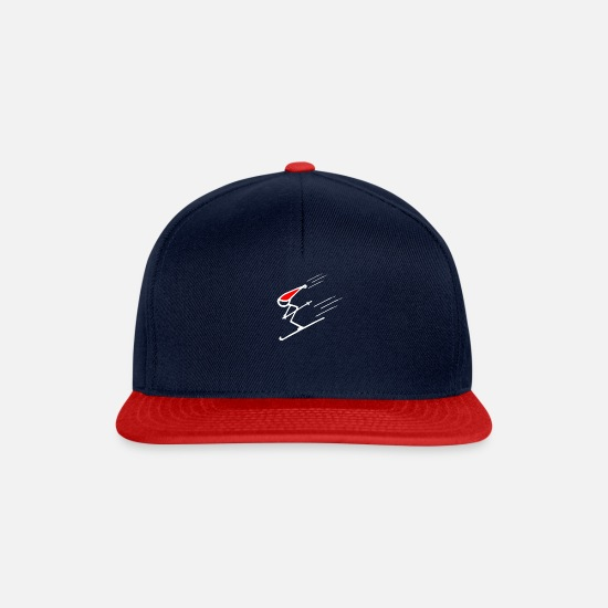 Ski Area Caps & Hats - Frequency skier downhill squat - Snapback Cap navy/red