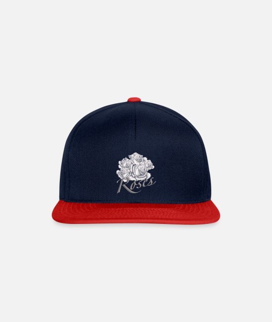 Painting Caps & Hats - White roses - Snapback Cap navy/red