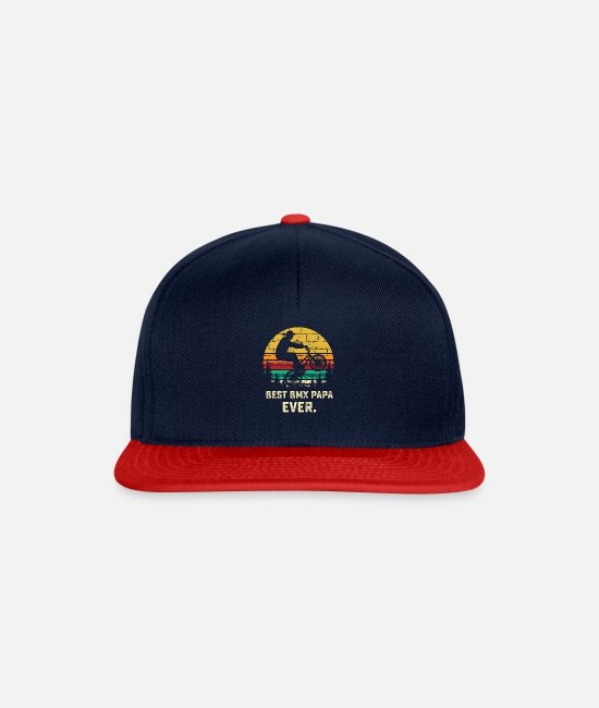 Caps & Hats - BMX Papa Shirt - Bike Rider Dad Gift - Biking Gif - Snapback Cap navy/red