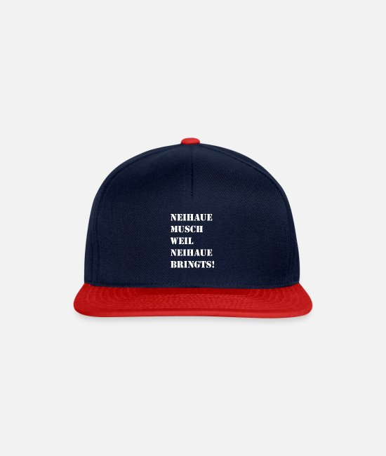 Specialty Caps & Hats - Swabian saying TShirt for Käpsele and Schwabe - Snapback Cap navy/red