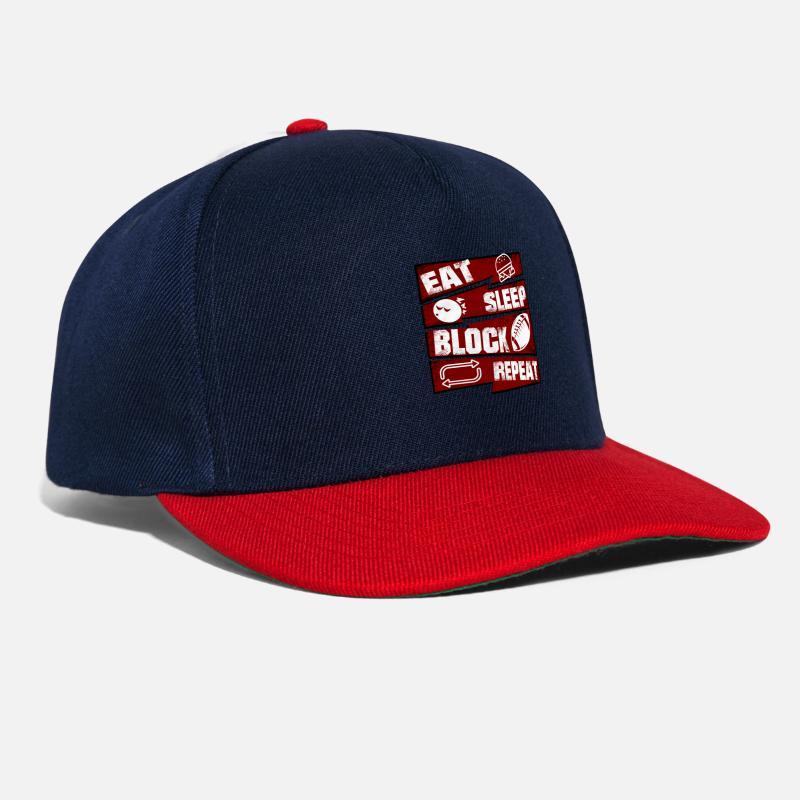 Offensive Caps   Hats - Eat Sleep Block Repeat Football Offensive Lineman - Snapback  Cap navy 0fa642e05f0