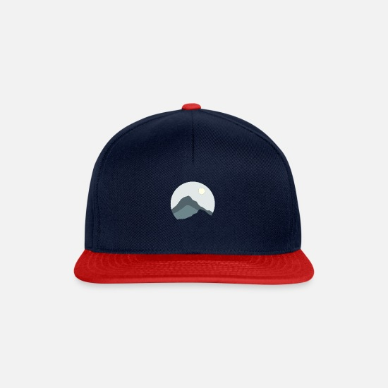Travel Caps & Hats - Mountains landscape gift hiking travel silhouett - Snapback Cap navy/red
