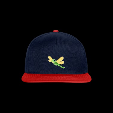Dragonfly green flying smile cartoon gift idea - Snapback Cap