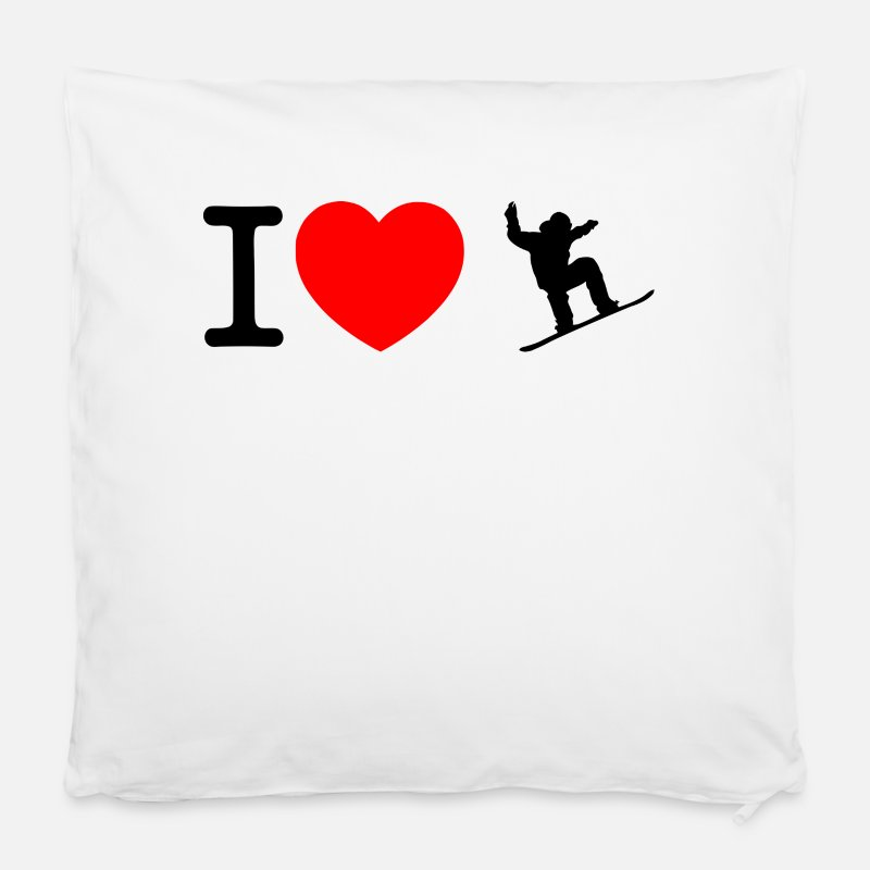 Heart Pillow cases - I love snowboard - Pillow Case white