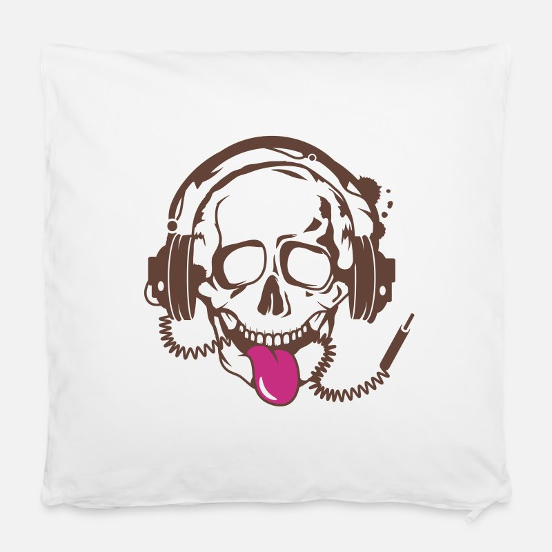 Tongue Pillow cases - A skull stretched tongue out with headphones  - Pillow Case white