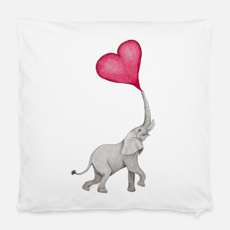 "Mother's Day Pillow cases - Elefant pustet Herz auf / elephant blows heart up - Pillowcase 16"" x 16"" (40 x 40 cm) white"