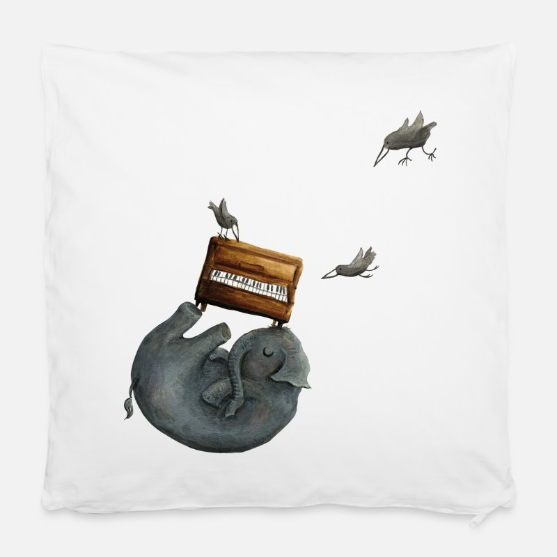 "Bestsellers Q4 2018 Pillow cases - elephant with a piano - Pillowcase 16"" x 16"" (40 x 40 cm) white"
