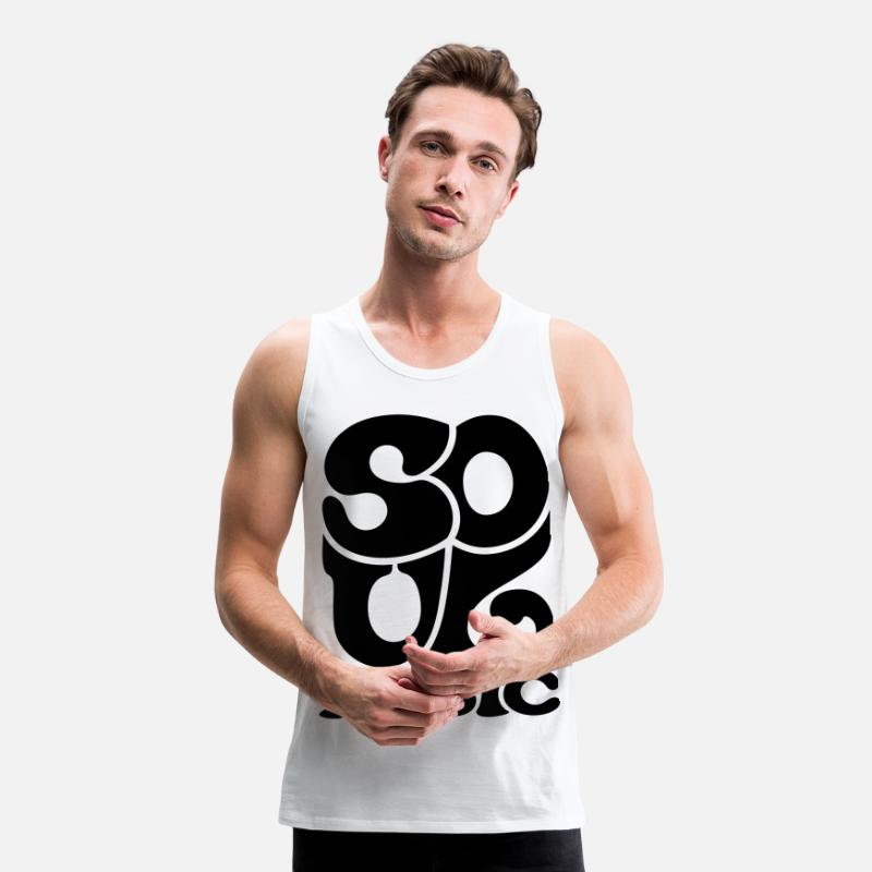 Blues Tank Tops - Soul Music - Funk Blues Gospel - Camiseta de tirantes premium hombre blanco
