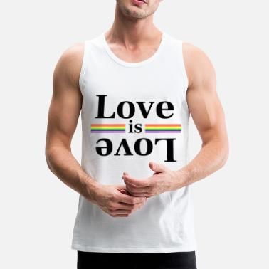 Gay Pride Love is Love Rainbow Stripes - Mannen Premium tank top
