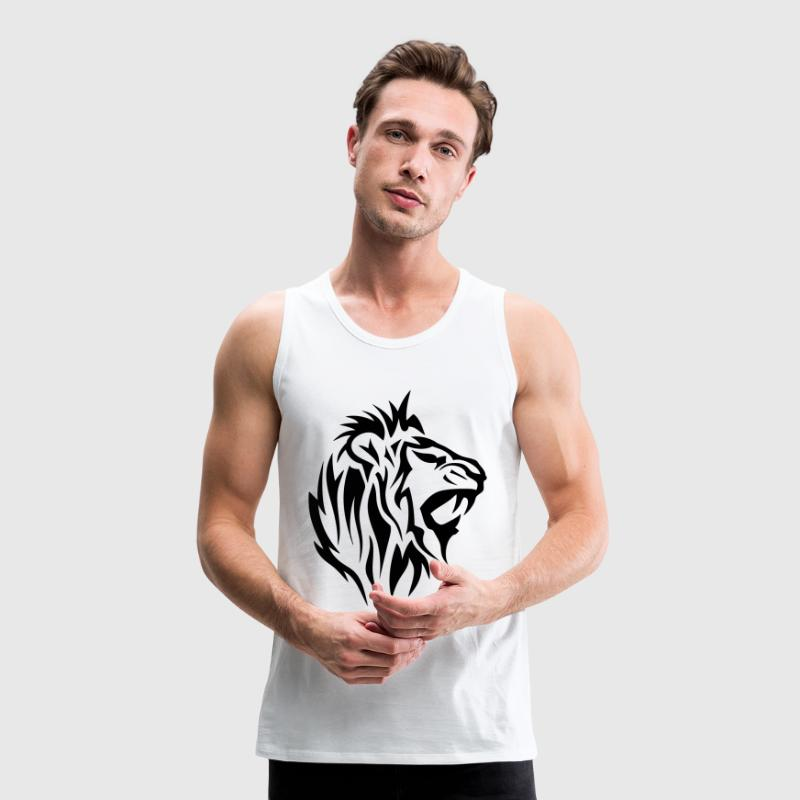 Tribal Tattoo Löwe 14025 - Männer Premium Tank Top
