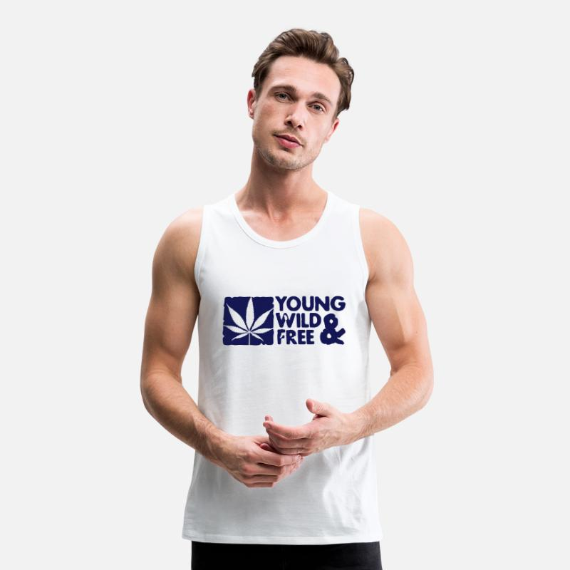 Young Tank Tops - young wild and free weed leaf boxed - Men's Premium Tank Top white