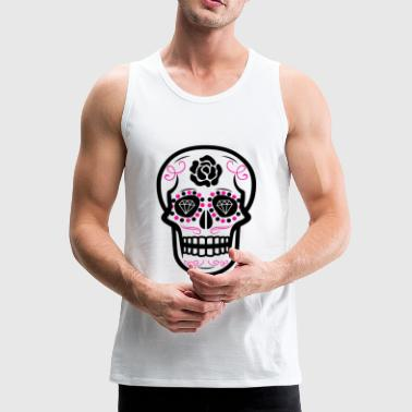 Sugar Skull Diamond Rose Pink - Men's Premium Tank Top