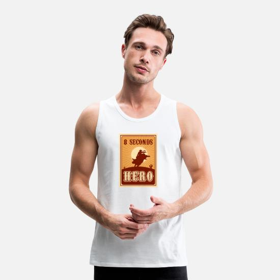 Rodeo Tank Tops - Bull Riding 8 Seconds Hero Vintage Rodeo Retro Cow - Men's Premium Tank Top white