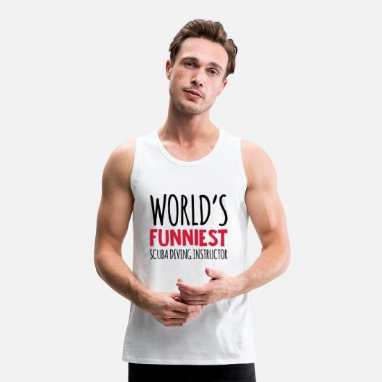 Water Tank Tops - worlds funniest scuba diving instructor - Men's Premium Tank Top white