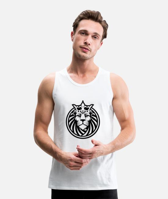 Forest Tank Tops - Lion - Men's Premium Tank Top white