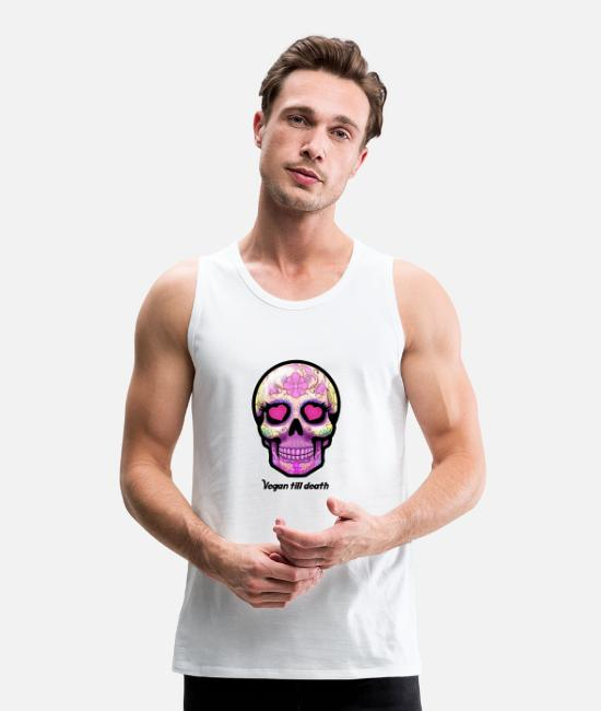 Nature Tank Tops - Sugarskull skull death heart sugar head vegan - Men's Premium Tank Top white