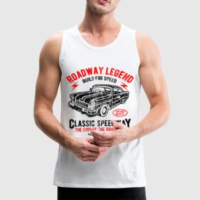 CLASSIC SPEEDWAY - Retro Car and Car Shirt Motif - Men's Premium Tank Top