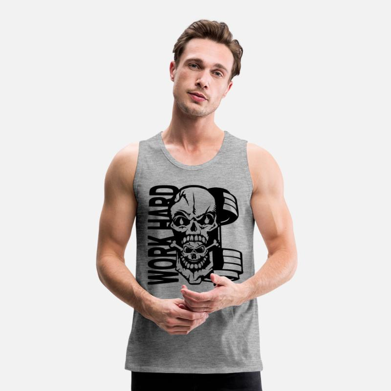 Labour Tank Tops - Work hard quote dead head muscle - Men's Premium Tank Top heather grey