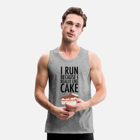 Funny Tank Tops - I Run Because I Really Like Cake - Men's Premium Tank Top heather grey