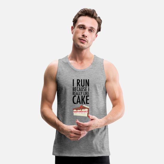 Funny Running Tank Tops - I Run Because I Really Like Cake - Men's Premium Tank Top heather grey