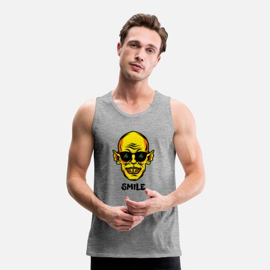 Frankenstein Tank Tops - Vampire Smile - Men's Premium Tank Top heather grey
