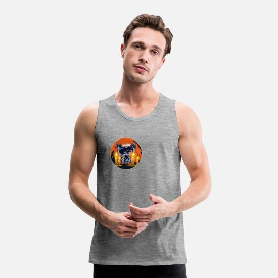 Gift Idea Tank Tops - Mens Witching Hour Graphic Cat - Men's Premium Tank Top heather grey