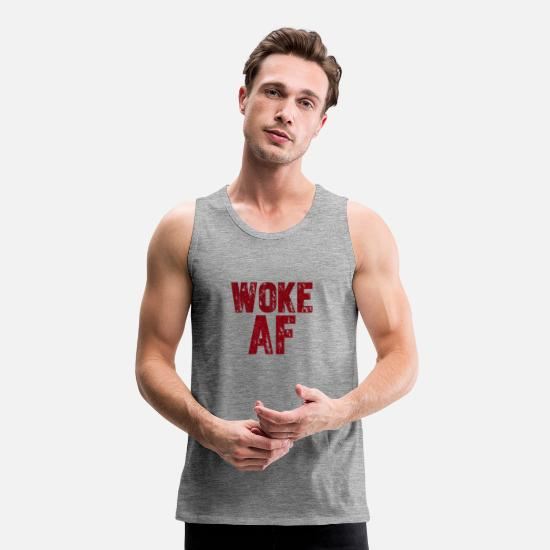 Love Tank Tops - Woke AF - Men's Premium Tank Top heather grey