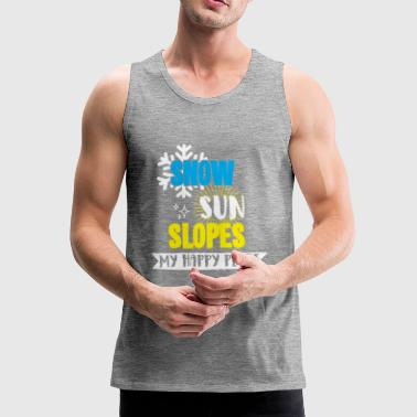 Snow Sun Slopes my happy place t-shirt with snow - Men's Premium Tank Top
