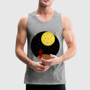 man stairing at moon - Men's Premium Tank Top