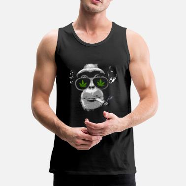 Monkey Chimpanzee with joint - Marijuana - Men's Premium Tank Top