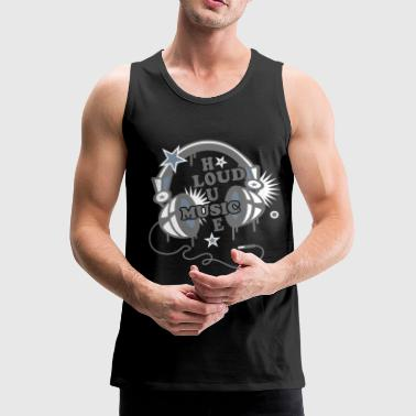 House Music Headphone House Design Loud Music  - Men's Premium Tank Top
